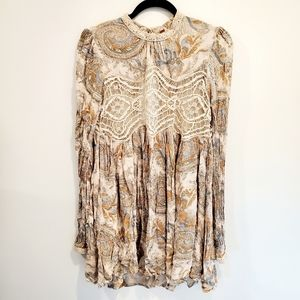 Free People Embroidered Lace Print Tunic